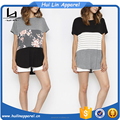 wholsale clothes color block contrast blank and stripe and floral print american apparel t-shirts