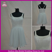 SW176 beaded straps short chiffon white prom dresses made in china