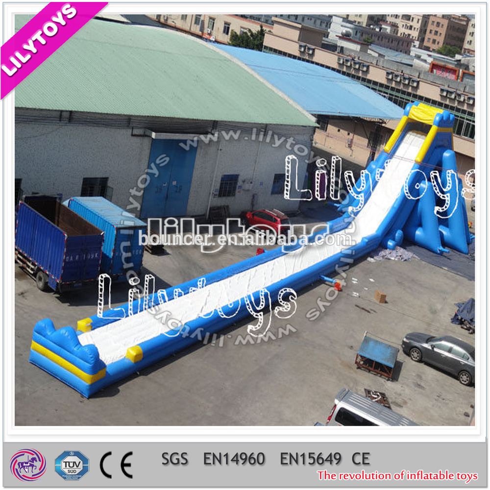 Lilytoys fancy hot inflatable hipo slide/giant stimulate blue long slide/trampoline wet slide for commercial