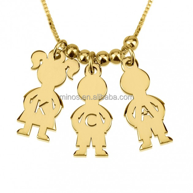New Design Kid Pendant Gold Plated Mother's Necklace Boy And Girl