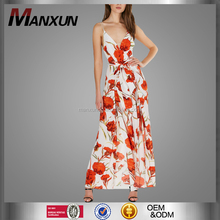 2017 New Style Elegant Deep V-Neck Strap Jumpsuit Sexy Floral Print Backless Romper Colorful Slits Going Out Clothing
