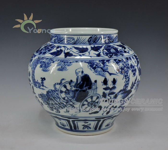 Antique Style Chinese Yuan Dynasty Blue And White Vases Pot Urn With