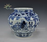 ANTIQUE STYLE CHINESE YUAN DYNASTY BLUE AND WHITE VASES POT URN WITH GUI GUZI DESIGN