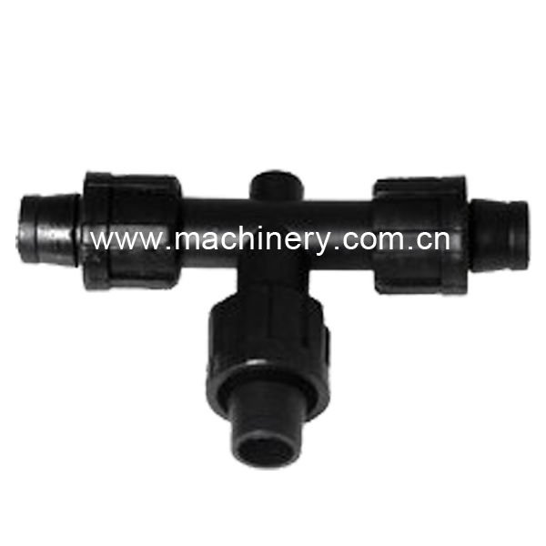 Drip irrigation lock tee for drip tape