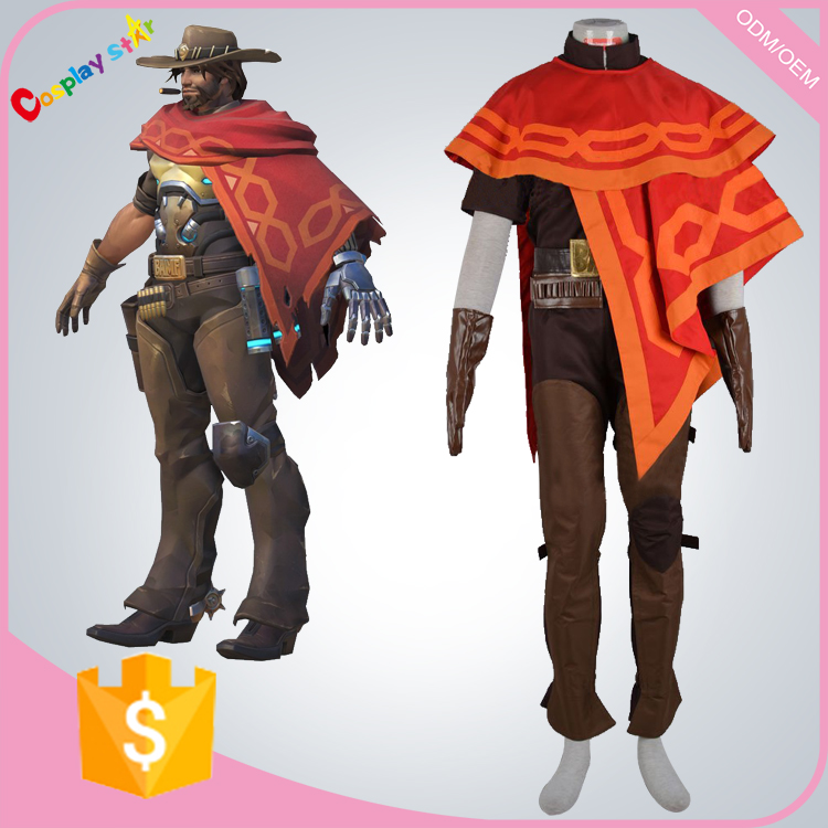 Jesse Mccree Costume from Overwatch for adult kid man free shipping