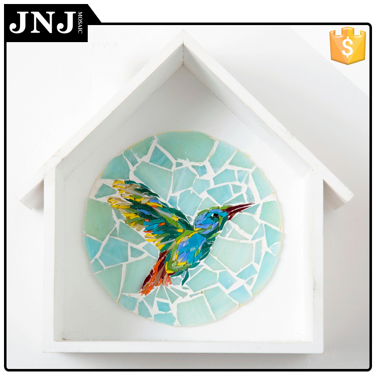 Glass Mosaic Surface Decoration Artist Tile For Hummingbird