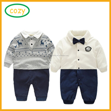 2017 baby boys gentleman vest tie Rompers climbing clothes jumpsuit kids modelling infant Long Sleeve climb clothes