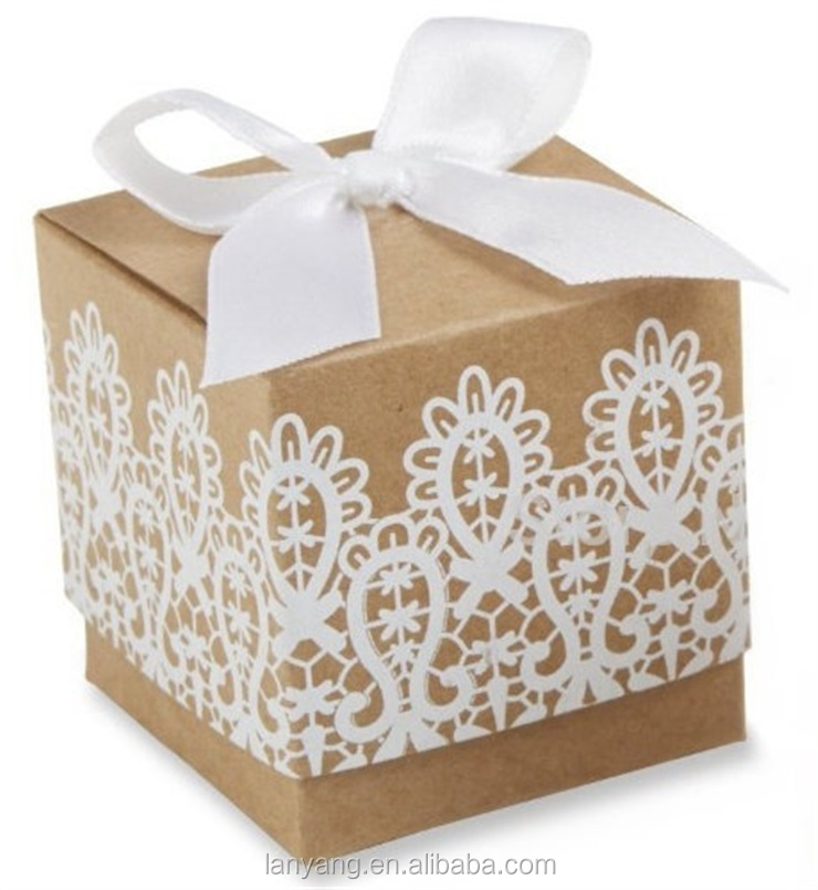 """Rustic Romance"" Kraft Lace Treat Box Wedding Shower Favors Boxes"