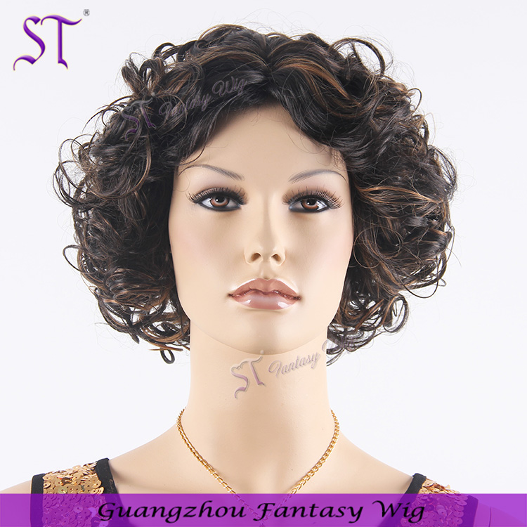 Guangzhou ST 2017 HOT sale synthetic hair wigs 12 inch jerry curl black women short hair styles