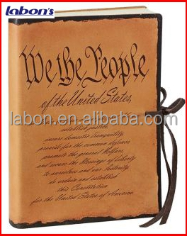 Custom United States Constitution Preamble Printed Soft Leather Journal with Tie cheap wholesales