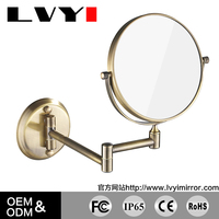 LY-1306 double side folding wall mounted makeup mirror 5x magnifying wall mounted extension gold LED mirrors for bathroom
