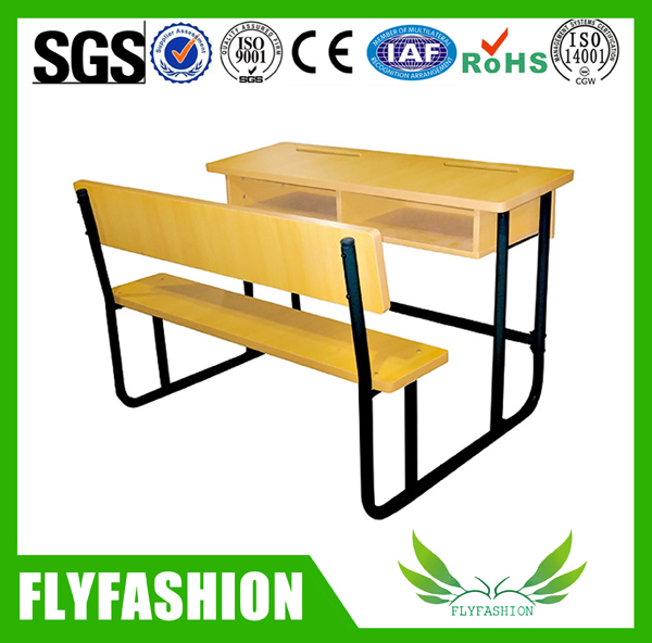 Professional manufacturer double student table with bench chair