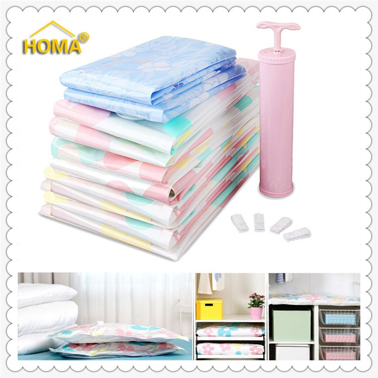 Plastic pillow vacuum storage bags with pump