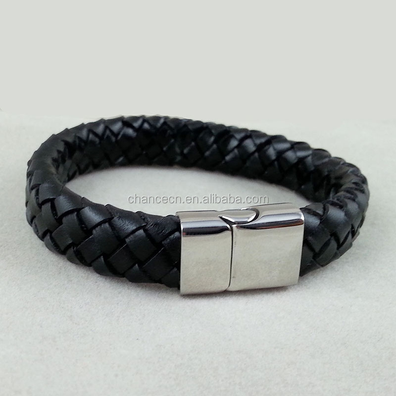 2016 wholesale mens leather bracelet stainless steel