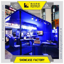 Sound electronic shop booths design and display furniture design and showcase with led light