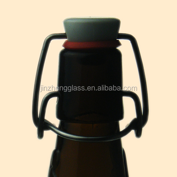 Amber glass beer bottle swing top,flip top glass bottle
