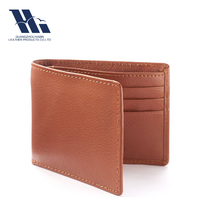 OEM/ODM Brown Leather Bi-fold Men's RFID blocking Wallet