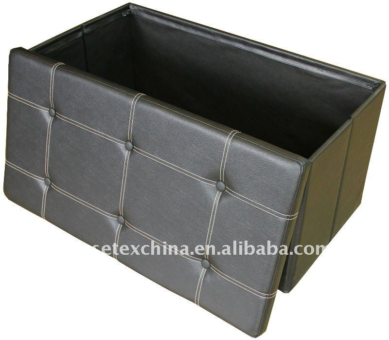 black faux leather foldable storage bench