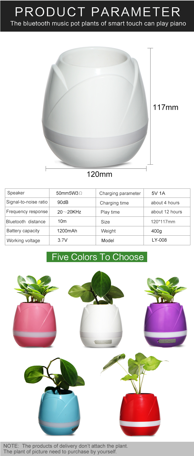Smart Bluetooth music flowerpot with LED light 2017 patented Petal design for Christmas gift