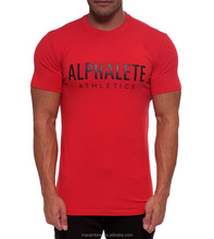 University Red 95% Cotton 5% Elastane Men's Muscle T Shirt Hot Sale Fitted Gym T Shirt Bodybuilding Clothing Performance Shirt