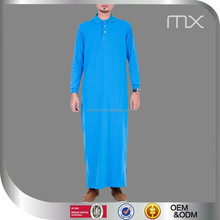 2015 indonesia latest jubah blue kurta collar style arabic jubba muslim men dress arabic thobe/jubba for men