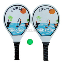 outdoor sports double racket custom printed wooden beach ball bat /paddle /racquets set with net bag