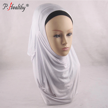 Muslim Plain Jersey Hijab 2 Face Instant Shawl Slips On Scarves Two Loop Scarf