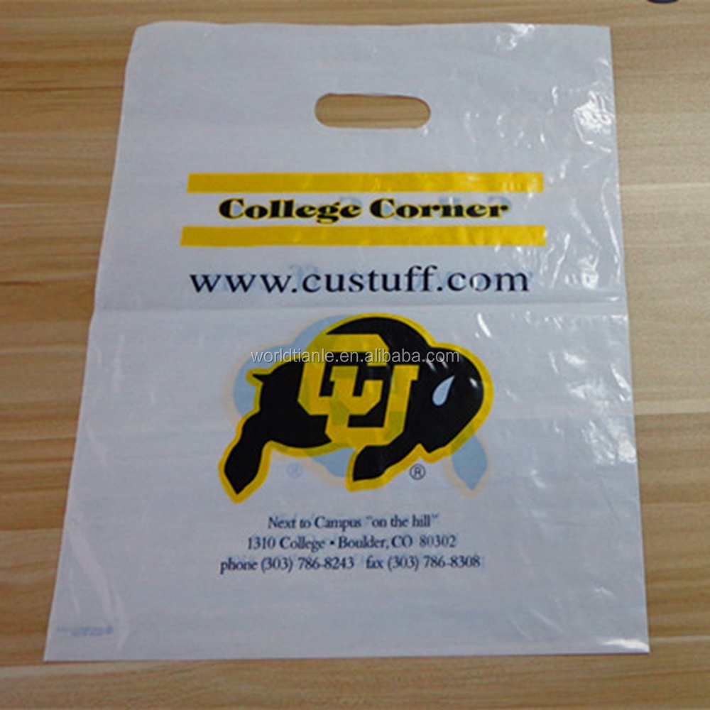 Clear plastic shopping bags logo printing die cut bag with handle,die cut handle plastic bag