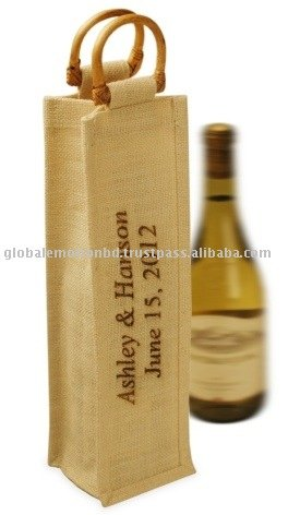 eco friendly natural fiber jute wine bag
