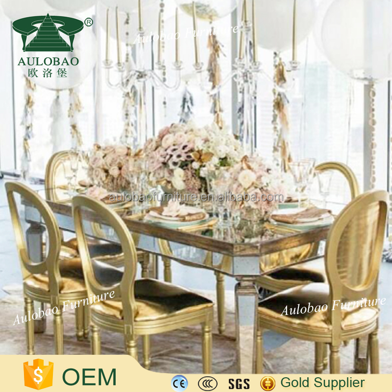 Wedding Event Furniture stainless steel meta frame glass top dining table set