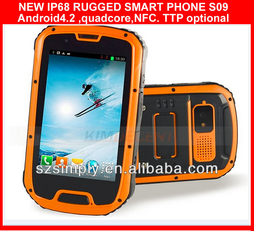 "IP68 QUAD CORE 4.3"" HANDY ANDROID SMART PHONE ,GPS PTT. NFC optional"