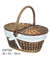 colored wicker picnic basket