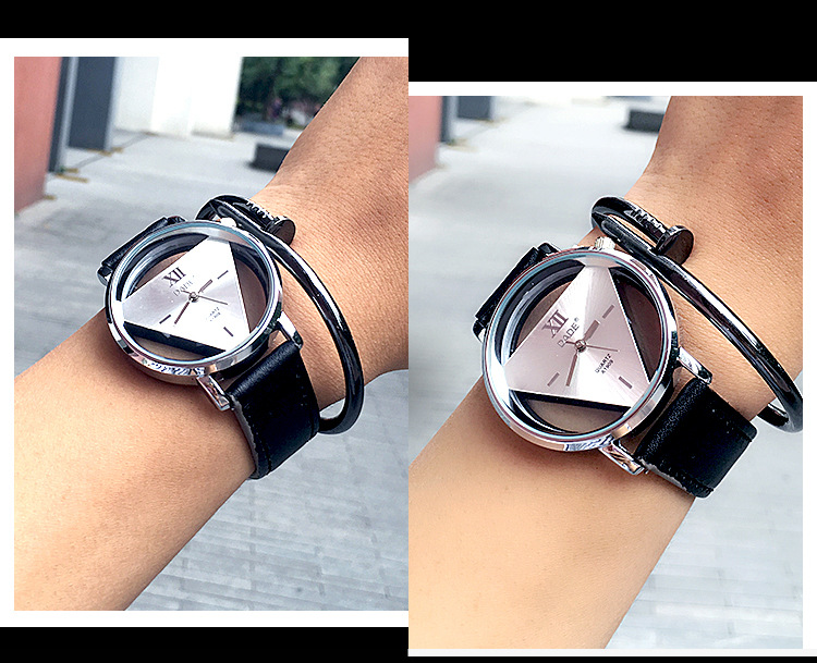 quartz watch 2017 triangle shape leather western wrist men watches