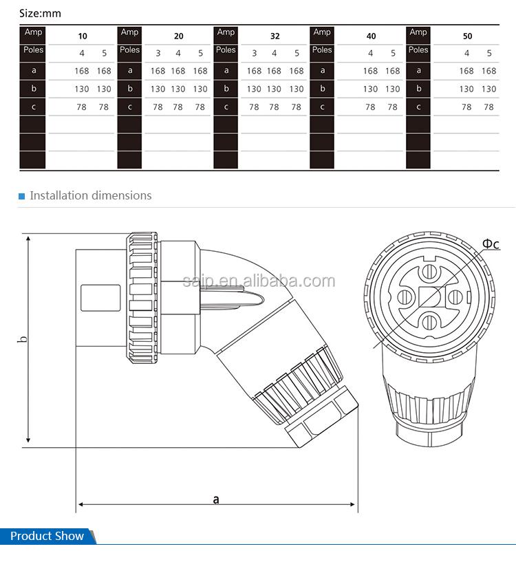 32a 4pins ip66 reefer plug  56pa432