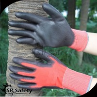 SRSAFETY 13g polyester latex coated men's work glove/reinforced work glove