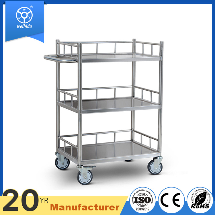 WBD Easy moving 3 layers stainless steel food cart with caster