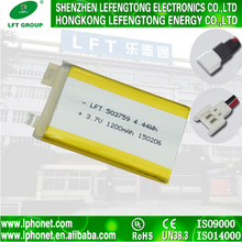 Manufacturer wholesale 503759 li ion battery 3.7v 1200mah rechargeable batteries for laptops