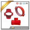 FM UL approved ductile iron grooved pipe fitting Threaded Mechanical Branch Tee