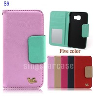 Fashion Cross Line Leather Case for Samsung Galaxy S6 Card Holder Wallet Case With Mirror