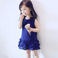 Popular Fashion Summer Dance Short Blue Girls Party Wear Dress for Children