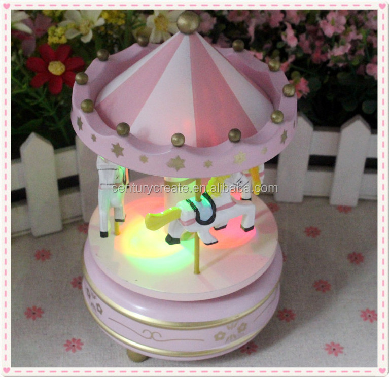 Merry-go-round LED wooden Rotating Music Box carols musical movement gifts