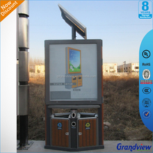 Solar panel power supply LED brightness light box with garbage bin