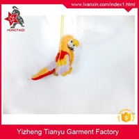 china manufacturer house decoration promotion gift plush yellow flying bird plush hanging parrot toys