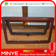 aluminum wood composite American style tempered glass swing open awning window/ swing hinges window with CE certificate