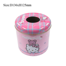 Custom print round paper tin tissue packaging box for personal bedroom