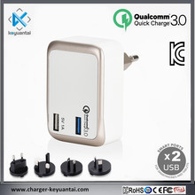 Kc And Qualcomm Approval 2 Port Quick Charger Qc3.0 Travel Wall Charger