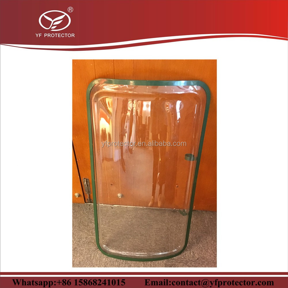 polycarbonate riot shield with rubber edge for supply/arm handle shield hot sale