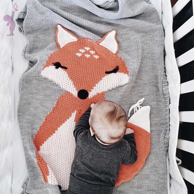Baby Blanket Portable Lovely Fox Wool Quilt Baby Knitting Blanket Air-condition Blanket Swaddling 110 X 70cm