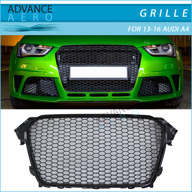 For AUDI A4 Facelift 2013 2014 2015 2016 RS Style Bright Black Frame ABS Front Grille Mesh Honeycomb