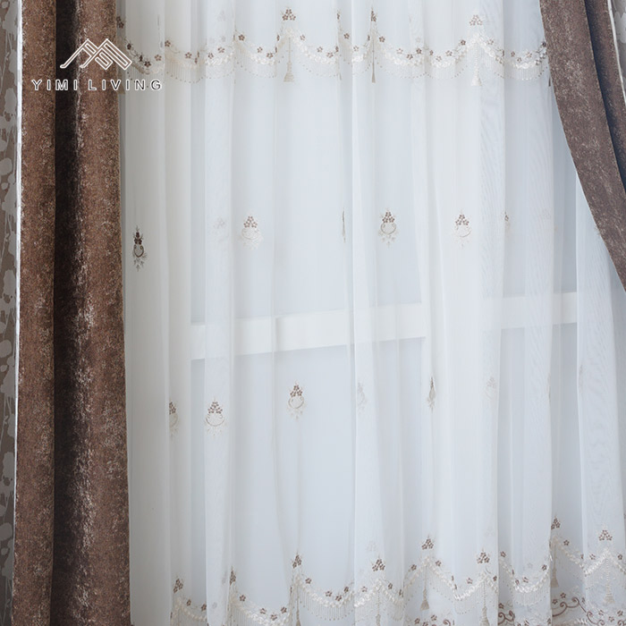 Good quality bedroom decor woven embroidered voile bali curtain